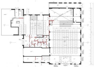 ConCello-Halle Bestuhlungsplan mit Tischen